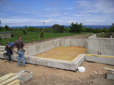 Custom home, foundation, radiant heating Lora Bay